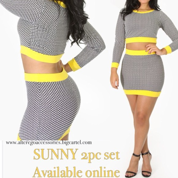 flashes of style dress crop tops two piece set yellow fashionistas