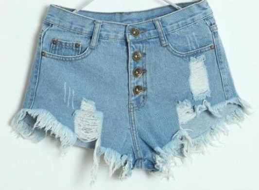 Frayed Edges Breasted Cotton Denim Shorts