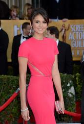 dress,nina dobrev,pink dress,lace dress