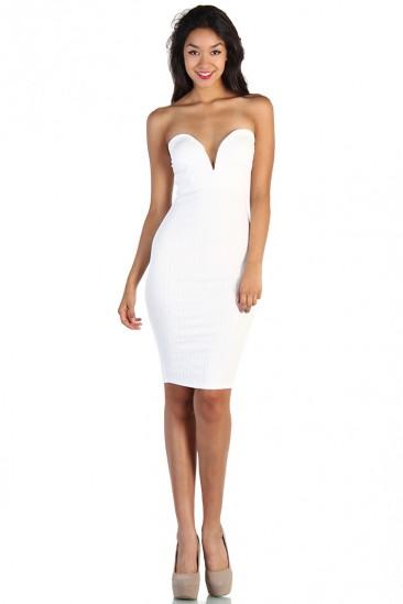 LoveMelrose.com From Harry & Molly | Plunging Neckline Strapless Dress - White