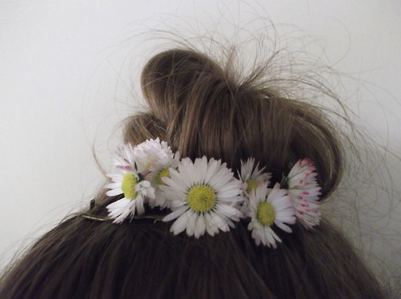 flowers jewels hair bow