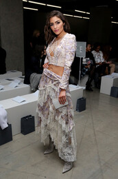 skirt,top,crop tops,olivia culpo,pumps,asymmetrical skirt,fashion week 2017,ny fashion week 2017,zimmermann,blouse,nyfw 2017