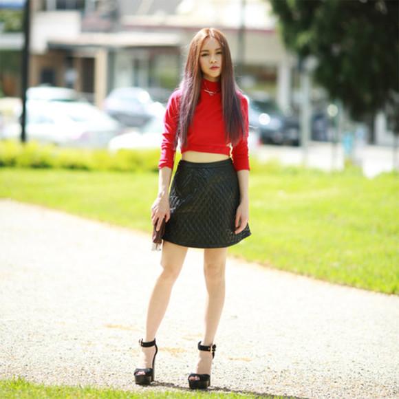 high heels peep toe blogger chloe ting turtleneck