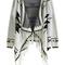 Beige long sleeve geometric print tassel cardigan -shein(sheinside)