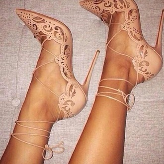 shoes nude high heels lace up