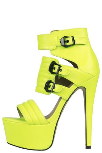 shoes fiery 3 neon neon yellow neon yellow heels 6 inch heels strappy platform shoes buckle heel bright yellow