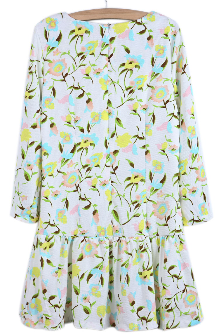 White Long Sleeve Blue Floral Ruffle Dress - Sheinside.com