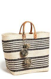 bag,pom poms,basket bag,basket tote,beach bag,pompom bag,pompom basket bag