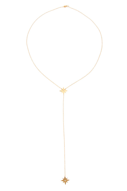 Jennifer Zeuner Gia Double Star Lariat in Gold Vermeil | SINGER22.com