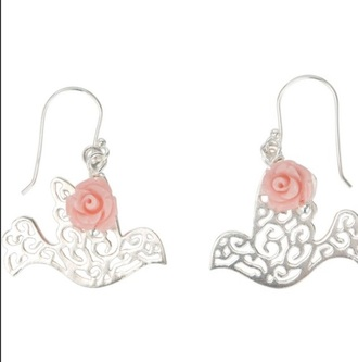 girly cute rose jewels silver earrinhs earrings dove bird peace birds