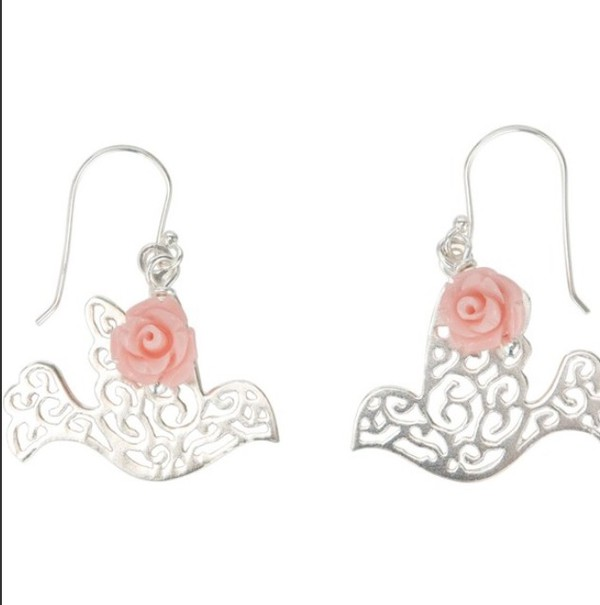 jewels earrinhs earrings dove birds peace rose girly cute birds silver