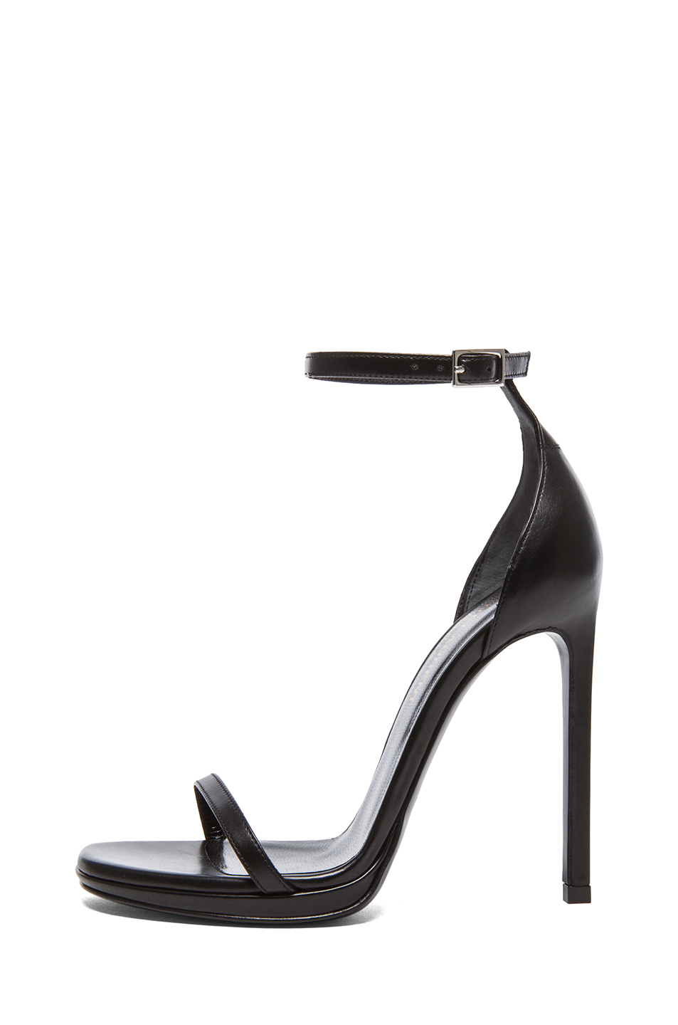 Jane leather ankle strap sandals in black