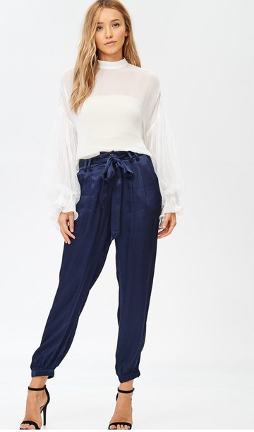pants navy pants satin joggers