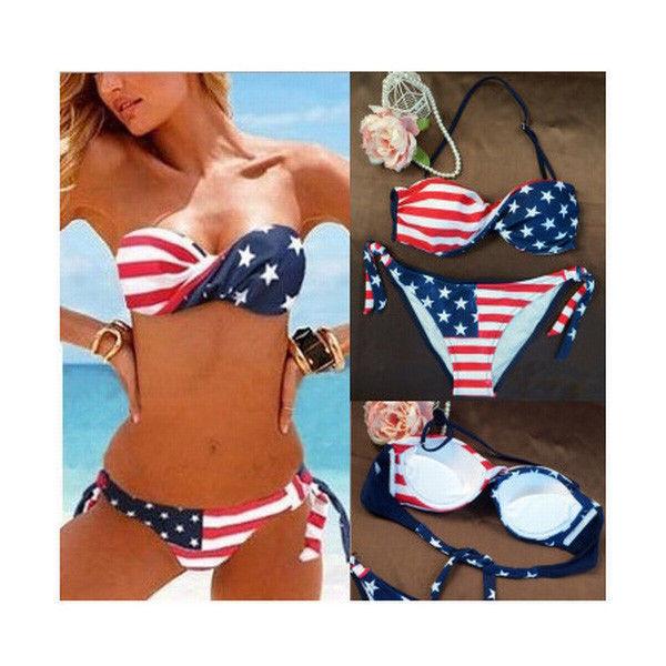 Stars Stripes American Flag Padded Twist Bandeau Bikini Swimwear Swimsuit Size M | eBay