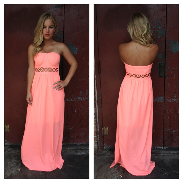 Coral Strapless Maxi Dress | Dainty