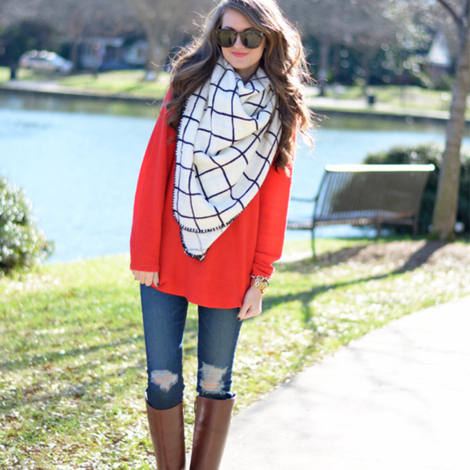 scarf sunglasses ripped jeans top checkered blogger red sweater make-up southern curls and pearls brown leather boots scarf red