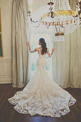 dress wedding dress white dress wedding long wedding dresses long sleeve lace dresses lace wedding dresses princess wedding dresses wedding clothes