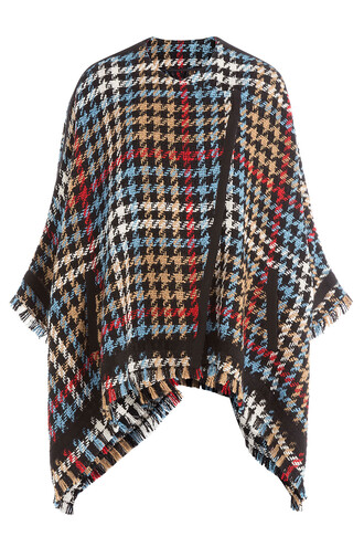 poncho knit houndstooth multicolor top