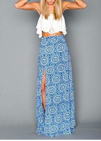skirt boho chic blue skirt