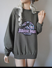 sweatshirt,sweater,jurassic park,jurassic,dark green,violet,dinosaur,girl
