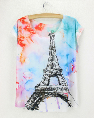 t-shirt paris effiel tower multicolor