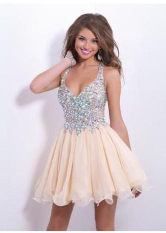 beige dress beige sparkely straps short short dress prom dress homecoming dress nude sequins