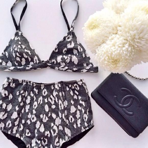 animal print swimwear bikini bra underwear high waisted bikini leopard print grey