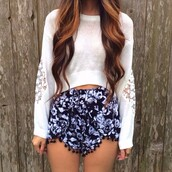 shorts,floral,High waisted shorts,sweater,blouse,top,pants,black,white,cute,shirt,pretty,blue,flowy,pullover,lace,cut-out,white shorts,high waisted blue shorts,flowered shorts,white sweater,boho,boho chic,boho patterns shorts,bohemian,bohemian shorts,indie,metallic,loose,bold,vintage,spring,hipster,soft grunge,hippie,purple and black,purple,lace bottom,flowy shorts,clothes,crop tops,pom pom shorts,festival,flowers,crop,angle,pattern,print,geo,ornate,hair accessory