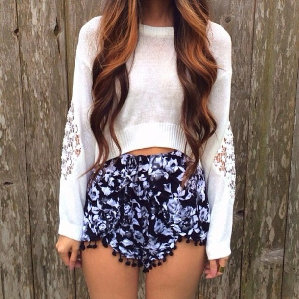 Shorts: floral, high waisted shorts, sweater, blouse, top, pants ...