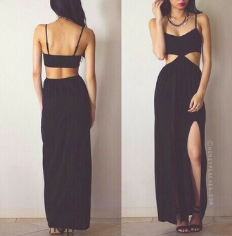dress long dress hot sexy dress maxi dress black cut-out backless red lime sunday