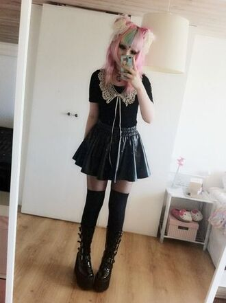 shoes lace black pastel goth boots knee high socks knee high boots platform shoes buckle boots buckles pleated skirt blouse