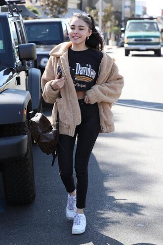 jacket pants madison beer sneakers crop tops streetstyle