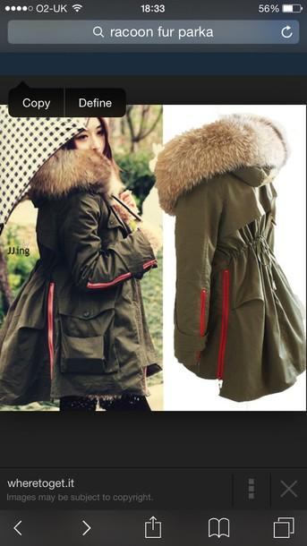 coat racoon fur