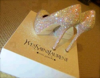shoes ysl platform shoes talon yves saint laurent white luxe luxury glitter shoes sparkle heels sparkle yves saint laurente shoes high heels stilettos bling glitter germany white dress black dress pumps sparkly heels