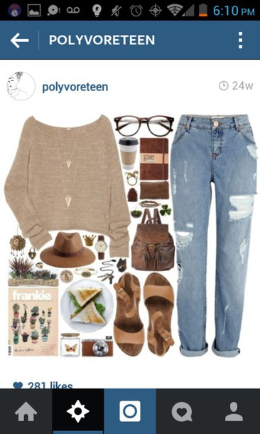sweater brown sweater jeans glasses brown sandals shoes