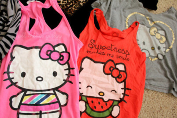 tank top hello kitty sleeveless shirt crop tops watermelon print pink