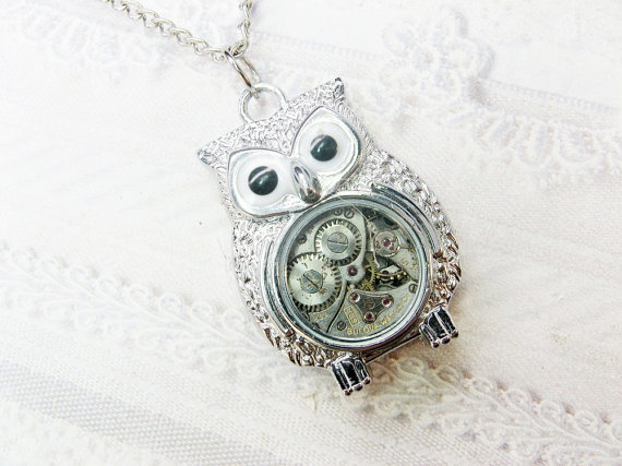 ORIGINAL Silver Owl Necklace  STEAMPUNK OWL Necklace by birdzNbeez