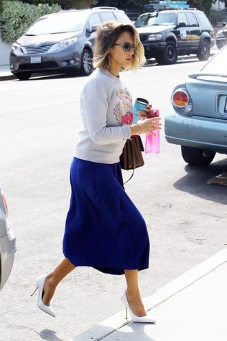 skirt midi skirt jessica alba sweater