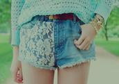 jewels,studs,bracelets,watch,gold,denim shorts,knitted sweater,lace,shorts