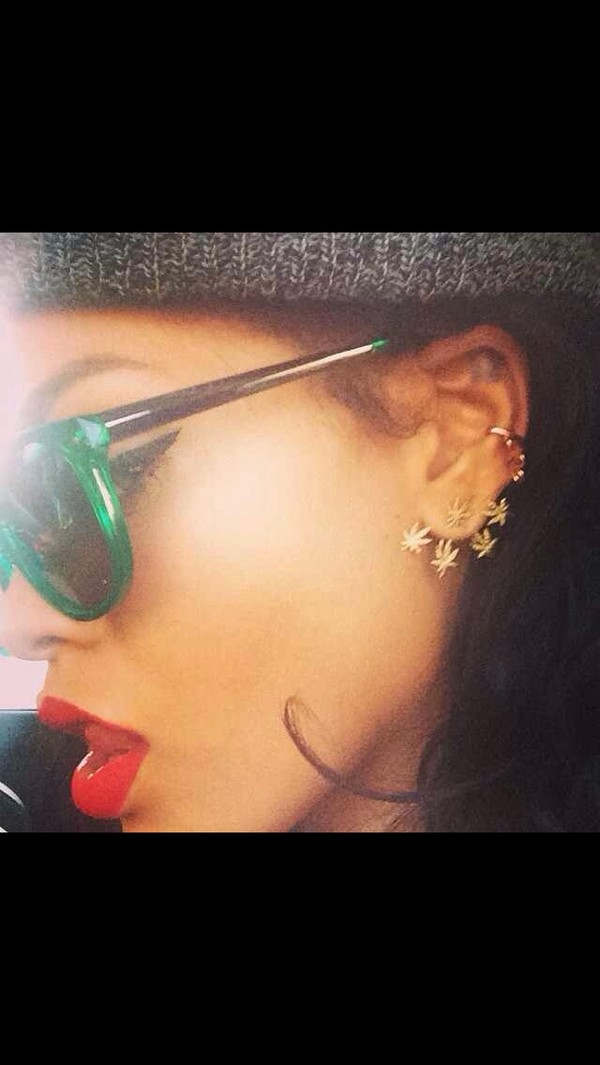 jewels weed sunglasses rihanna marijuana earrings clips