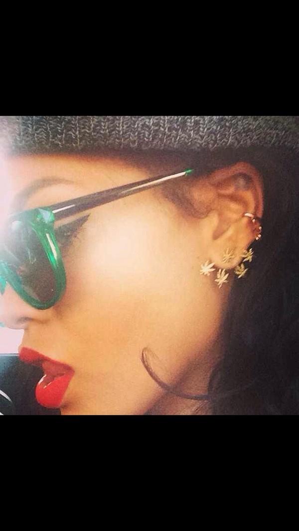 jewels weed sunglasses rihanna marijuana earrings clips