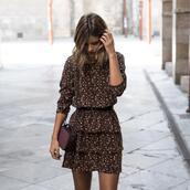 ms treinta,blogger,dress,bag,shoes,fall outfits,brown dress