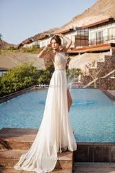 Julie vino 2014 backless wedding dresses eden halter neck chiffon wedding dress a