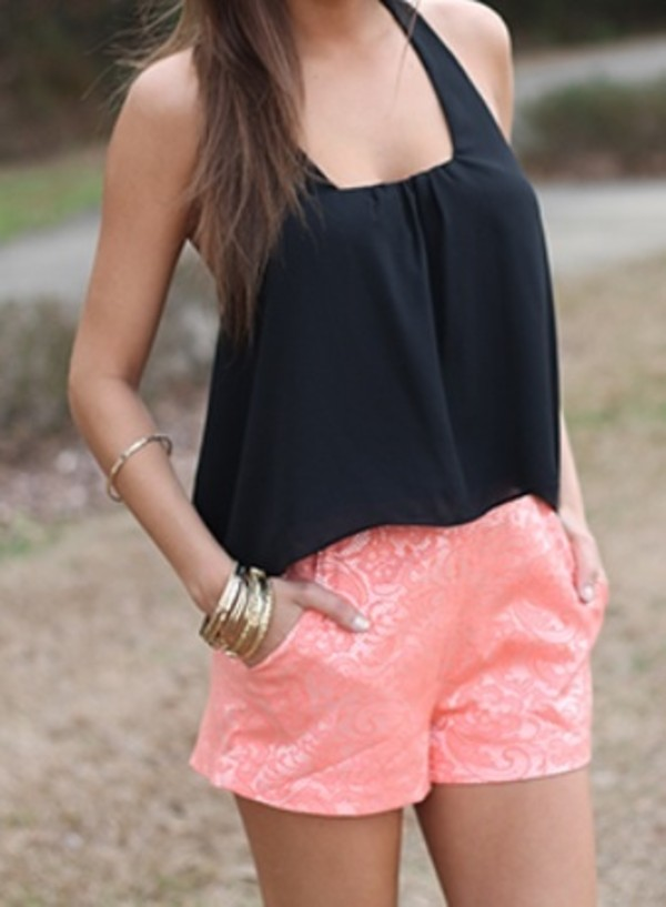 shorts tank top coral sparkle
