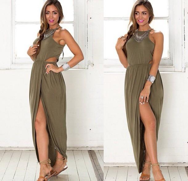 dress Khaki dress maxi dress maxi