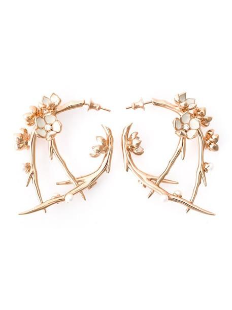 SHAUN LEANE cherry women earrings silver grey metallic jewels