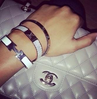 jewels hermes hermes cuff bracelets louis vuitton lv chanel bag stacked bracelets silver silver bracelet silver jewelry jewelry