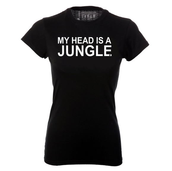 festival black t-shirt my head is a jungle jungle top jungle black t-shirt music slogan ontrend slogan top song lyrics music shirt