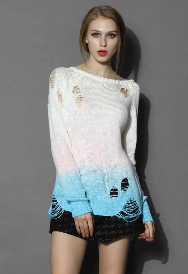 chicwish ombre sweater shredded sweater