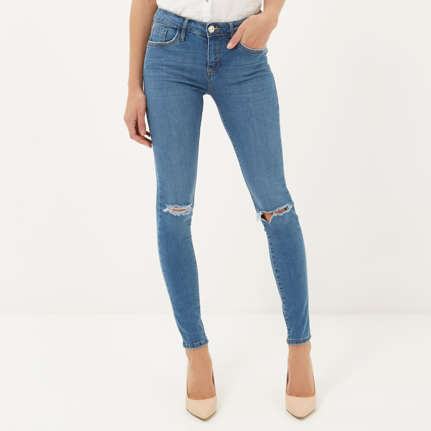 Mid wash ripped Amelie superskinny jeans